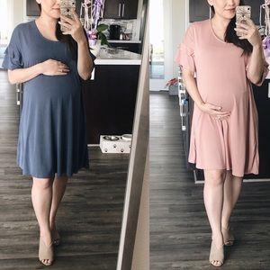 Maternity Ruffle Sleeve Tee Dress